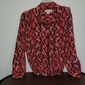 Michael Kors Faux Python Print Zip Shirt Blouse 3X